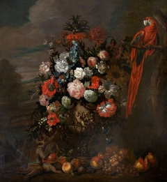 A Figured Vase of Flowers with Monkey teasing a Parrot