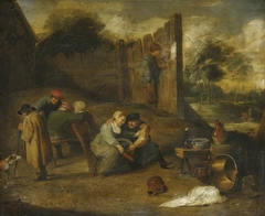 A Group of Peasants outside a Tavern