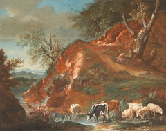 A Pastoral Scene with Cows and Sheep beside a Mountain Stream