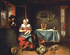 A Woman seated, plucking a Duck, in a Cottage interior