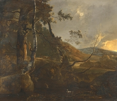 A Wooded Landscape with a Herdsman on a Path and a Lone Goat