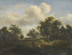 A Woodland Glade with Cottages