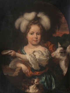 A Young Girl in a Feather Headdress with a Kid