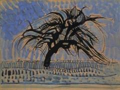Apple tree in blue