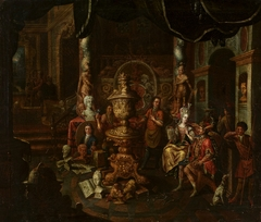 Artist's atelier with Hungarian patrons