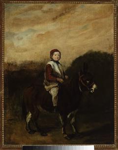 Artist's son on a donkey