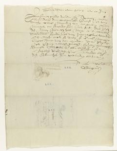 Brief van Goltzius met buste van een grijsaard