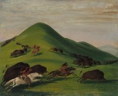 Buffalo Chase over Prairie Bluffs