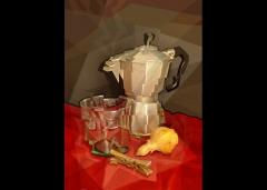 Cafetera y tres objetos