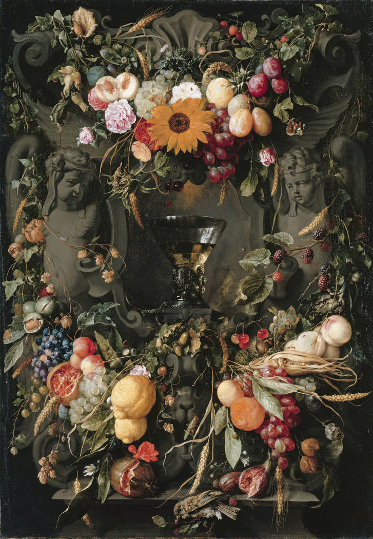 Cartouche with fruit and flowers and wine glass