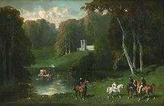 Cavaliers et Amazones au bord d'un lac