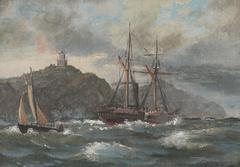 Coastal scene with ships and a lighthouse.