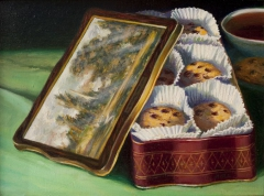 """Constable Cookie Tin"" by Lydia Martin© oil on Belgian linen (20""x24"")"