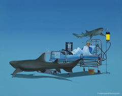 "CURE FOR APNEA- by PascalCURE FOR APNEA - oil on canvas by Pascal Lecocq, The Painter of Blue ®, 16""x20"", 2008, lec781, priv.coll. Balboa, Ca. Prints available © pascal lecocq. Fear the surgeon fish, not the nurse sharks… #nurse #shark #xray #iv"