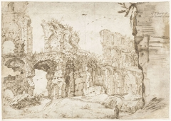 De ruïnes van het Colosseum, van binnen gezien, Rome