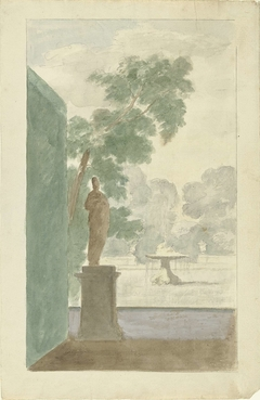 Design for  a Wall Decoration in a Hall: View of a Garden with a Statue, Fountain and Urns