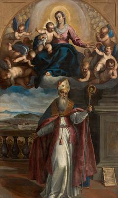 Die Madonna mit Kind erscheint dem hl. Ubaldo, Bischof von Gubbio und verweist auf den Ort zur Gründung der Staadt Pesaro