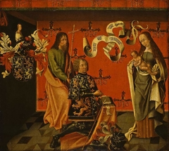 Diptych: Calvary and Virgin with Child, Saint Philip and the donor