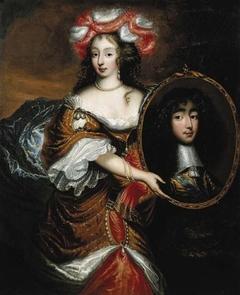 Double portrait of Henriette Stuart (1644-1670), holding a portrait of her husband Philippe d' Orleans (1640-1701)