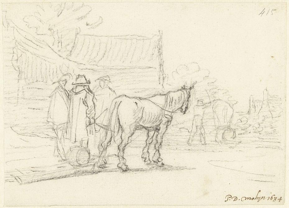 Drie mannen naast een paard en slede