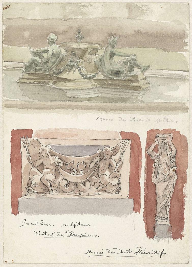 Drie schetsen van sculpturen in het Musée des Arts-Decoratifs te Parijs