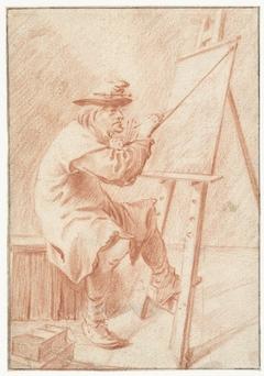 Een schilder voor zijn ezel