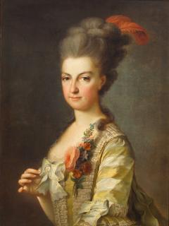Erzherzogin Maria Christine (1742-1798), Herzogin von Sachsen - Teschen, in gestreiftem Seidenkleid, Halbfigur