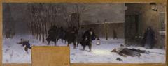 Esquisse pour le cabinet du préfet à l'Hôtel de Ville : La recherche des blessés durant le siège de Paris en 1870