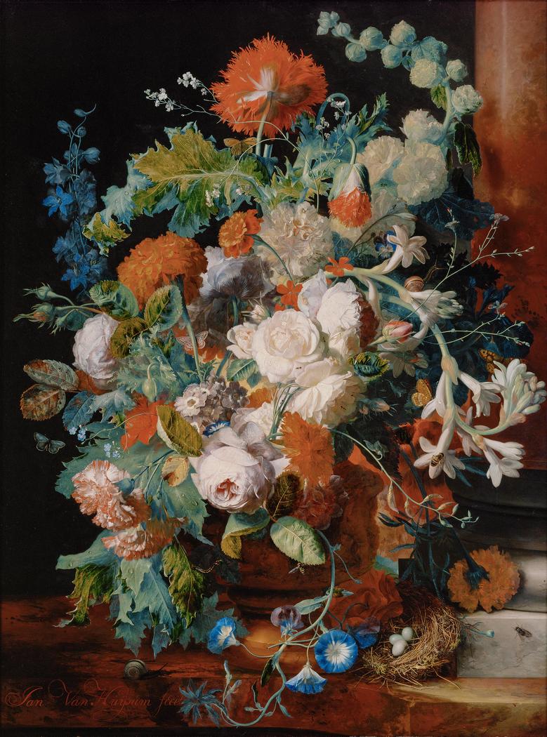 Flower Still Life near a Pedestal