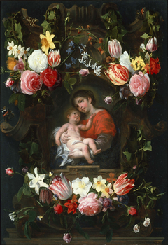 Garland of Flowers with Madonna and Child