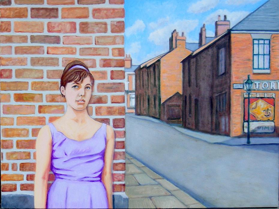 'Geordie girl in a lilac dress' (2013) , oil on linen, 76 x 102 cm