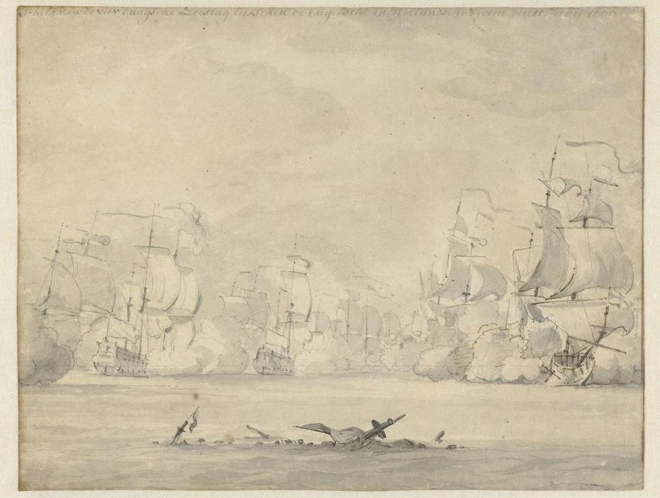 Gevechten tijdens de eerste dag van de Vierdaagse Zeeslag, 1666