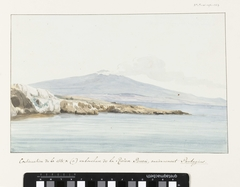 Gezicht op de kust met brede monding van rivier Porcari, voorheen Pantagias genaamd