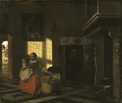 Interior with a Mother close to a Cradle