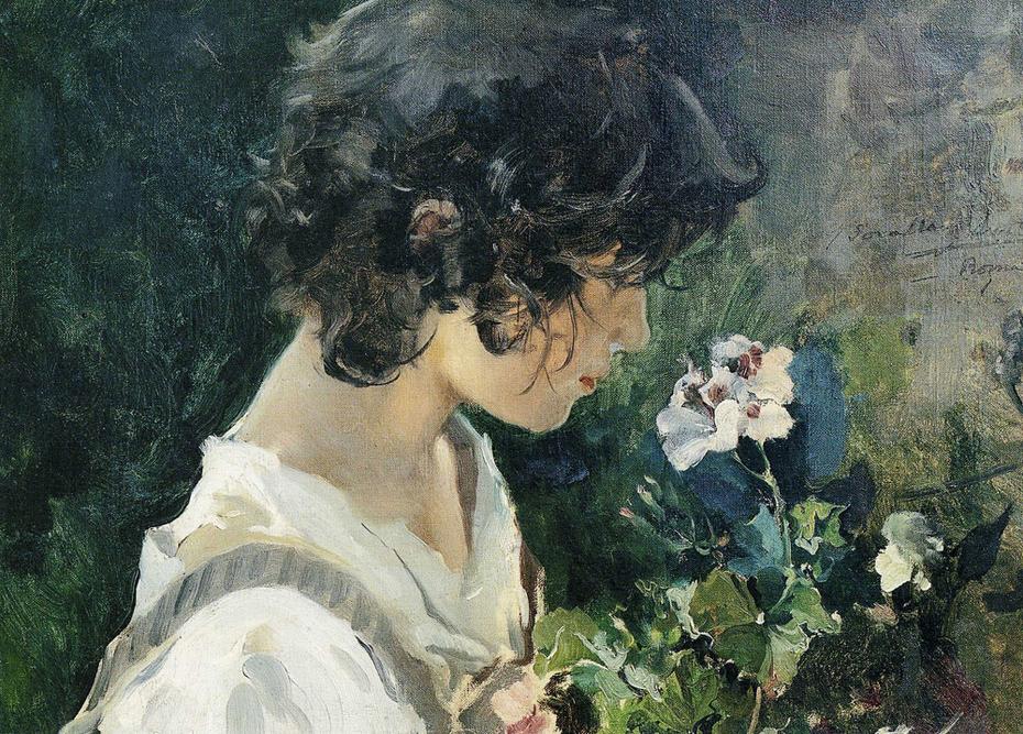 Italian Girl with Flowers