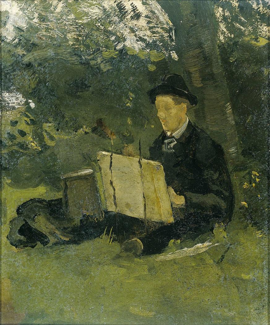 Jan Verkade (1868-1946) Painting under a Tree at Hattem