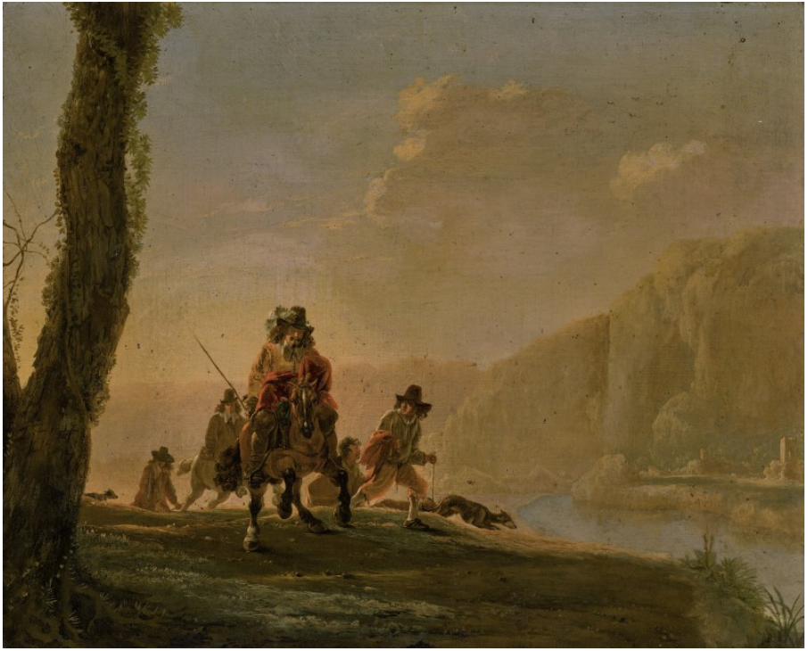 LANDSCAPE WITH A DEPARTURE FOR A HUNT