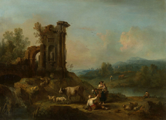 Landscape with Classical Ruins, Cattle and Figures