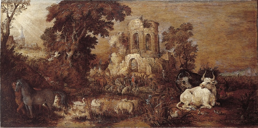 Landscape with Ruin and Cattle near a Pond