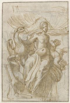 Leda of Venus(?) met vogel en putti voor een schelp