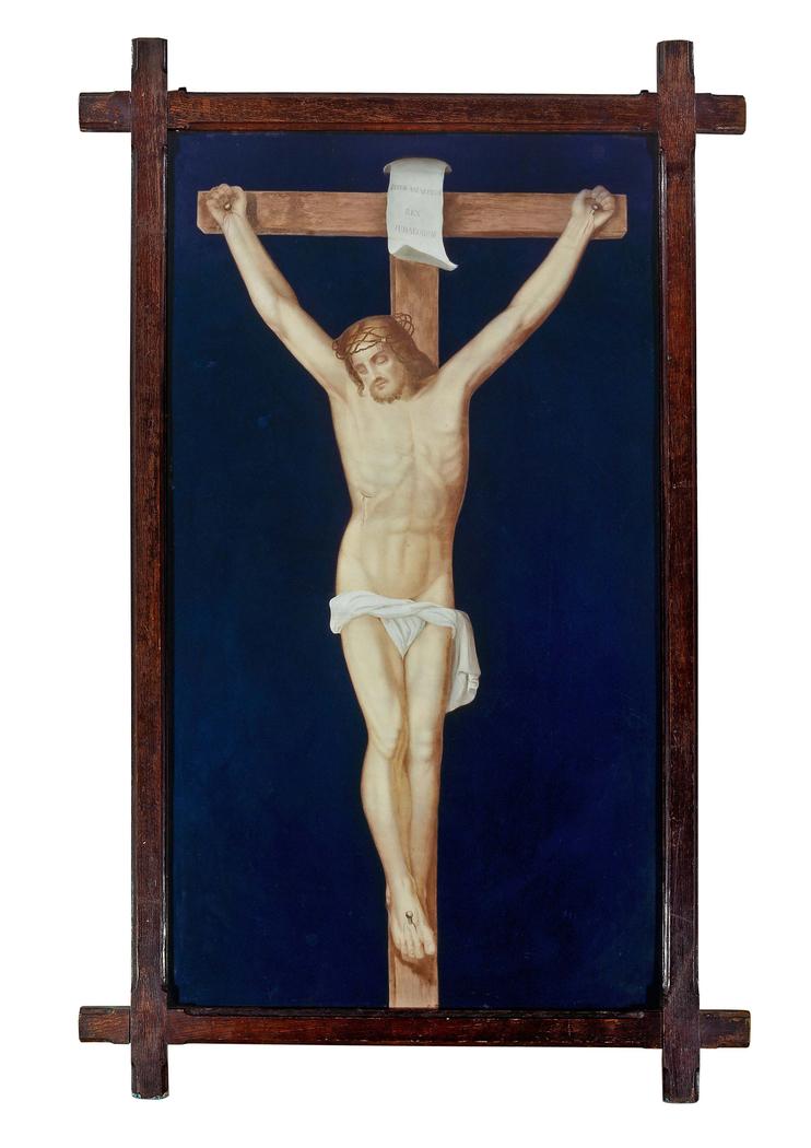 Limoges enamelled plaque depicting crucifixion of Christ