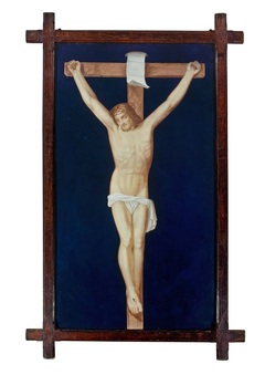 Limoges enamelled plaque depicting crucifixion of Christ