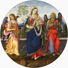 Madonna and Child with two angels playing music