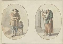 Man met kind en vrouw met kind op de rug