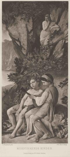 Musizierende Kinder, von einer Nymphe belauscht