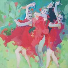 Naughty girls dancing barefoot