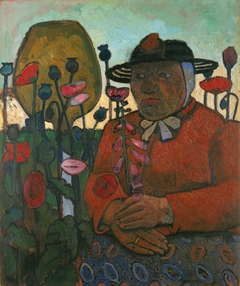 Old poor woman with a glass ball and poppies