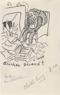Ontwerp boekillustratie voor Alexander Cohen's Van Anarchie tot Monarchie: Spotprent van Aristide Briand