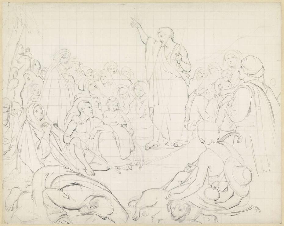 Ontwerptekening voor de prediking van Johannes de Doper in de woestijn
