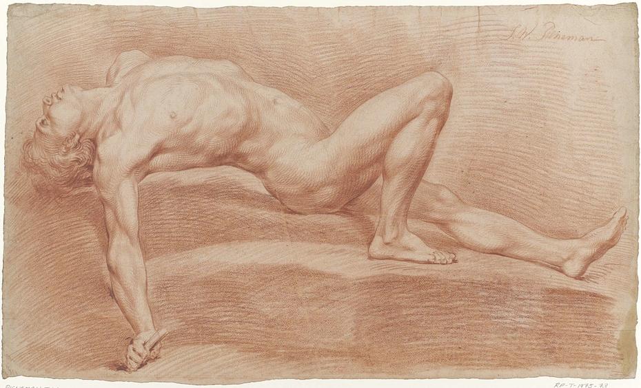 Op de rug liggend mannelijk naakt